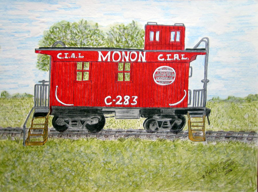 Monon Painting - Monon Wood Caboose Train C 283 1950s by Kathy Marrs Chandler