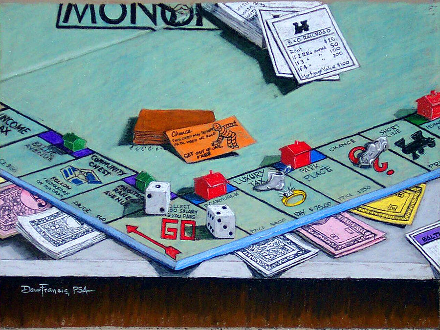 Pastel Painting - Monopoly - Anything But A Three by David Francis