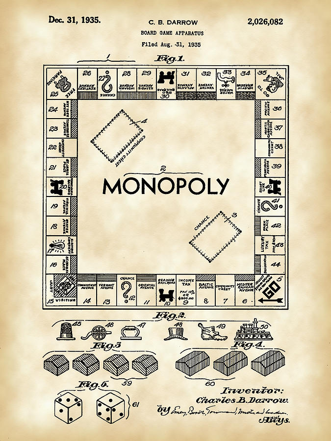 Monopoly Digital Art - Monopoly Patent 1935 - Vintage by Stephen Younts