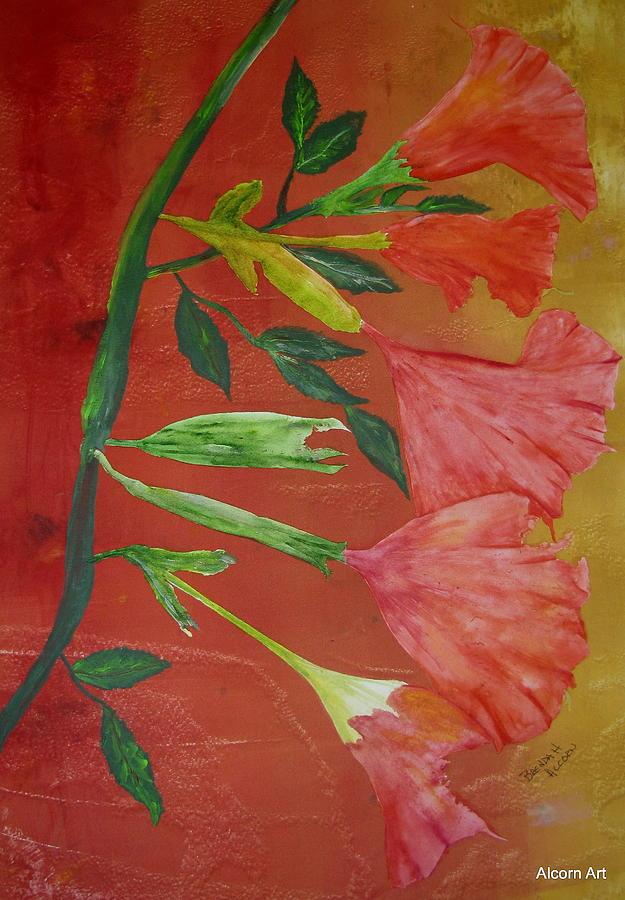 Angel Trumpet Painting - Monoprint Of Angel Trumpet by Brenda Alcorn