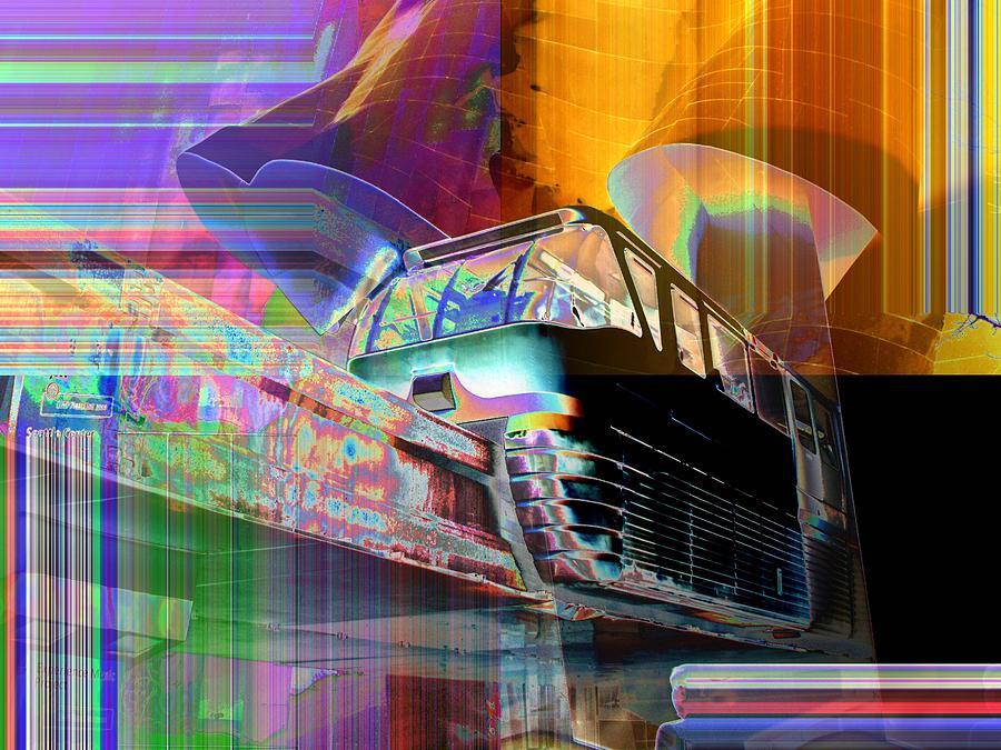 Seattle Digital Art - Monorail And Emp by Tim Allen
