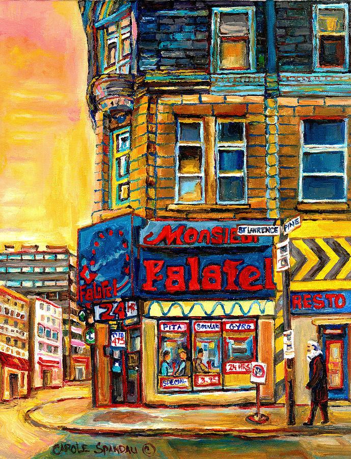 Montreal Painting - Monsieur Falafel by Carole Spandau