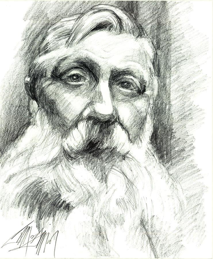 Portrait Drawing - Monsieur Rodin by James Simon