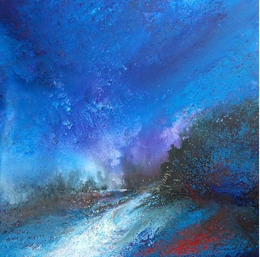 Acrylic On Canvas Painting - Monsoon In Blue  by Pramod Arya