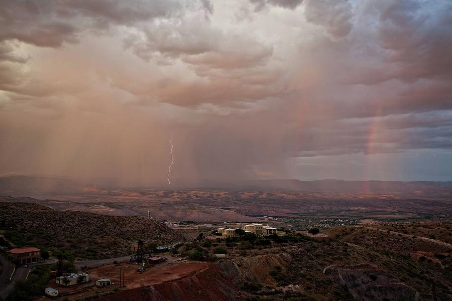Monsoon Photograph - Monsoon Lightning And Rainbow by Ron Chilston