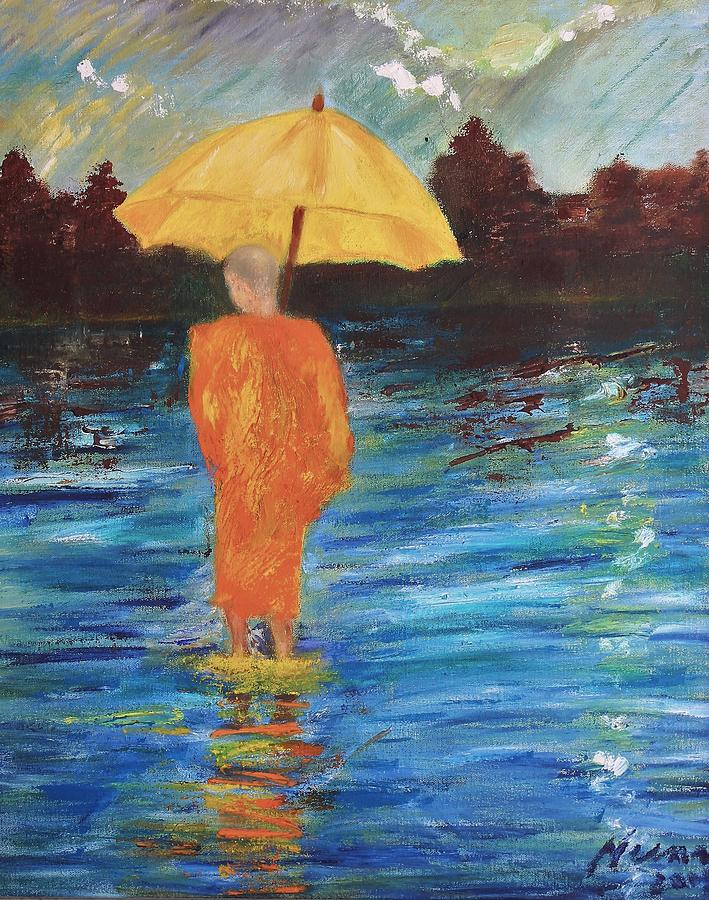 Landscape Painting - Monsoon Walk by Neena Alapatt