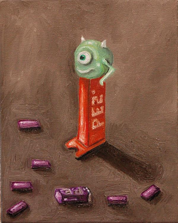 Pez Painting - Monster Pez by Leah Saulnier The Painting Maniac
