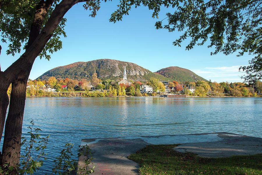 Mont Saint Hilaire Autumn Scene, Wide View by Rick Shea