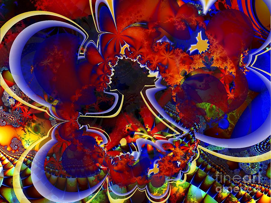 Fractal Digital Art - Montage In Reds And Blues by Ron Bissett