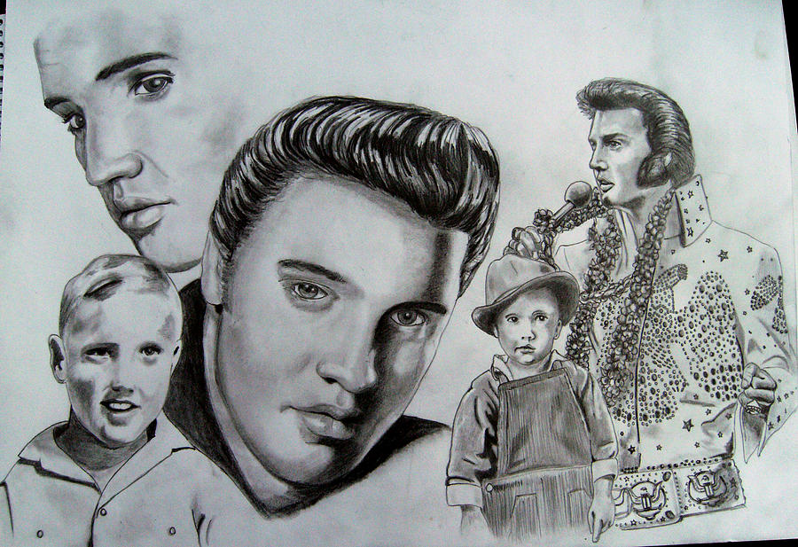 Montage Of Elvis Presley Drawing By Chris Reynolds
