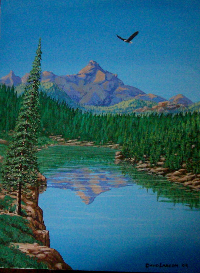 Mountain Painting - Montain Pond by David  Larcom