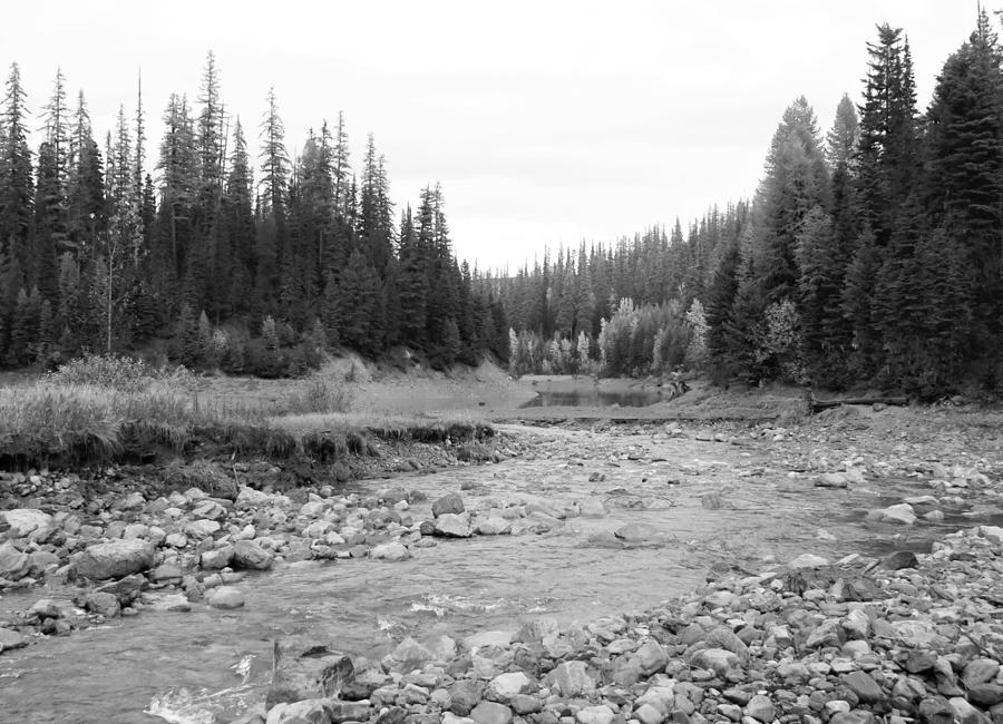 Black And White Photograph - Montana Creek Bend by Connor Ehlers