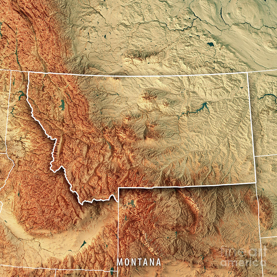 Montana State Usa 3d Render Topographic Map Border Digital Art By