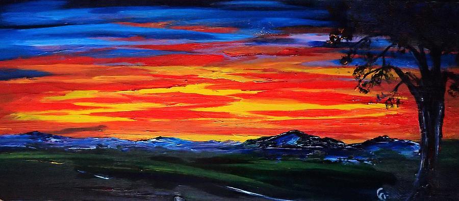 montana sunset colors 72 painting by cheryl nancy ann gordon