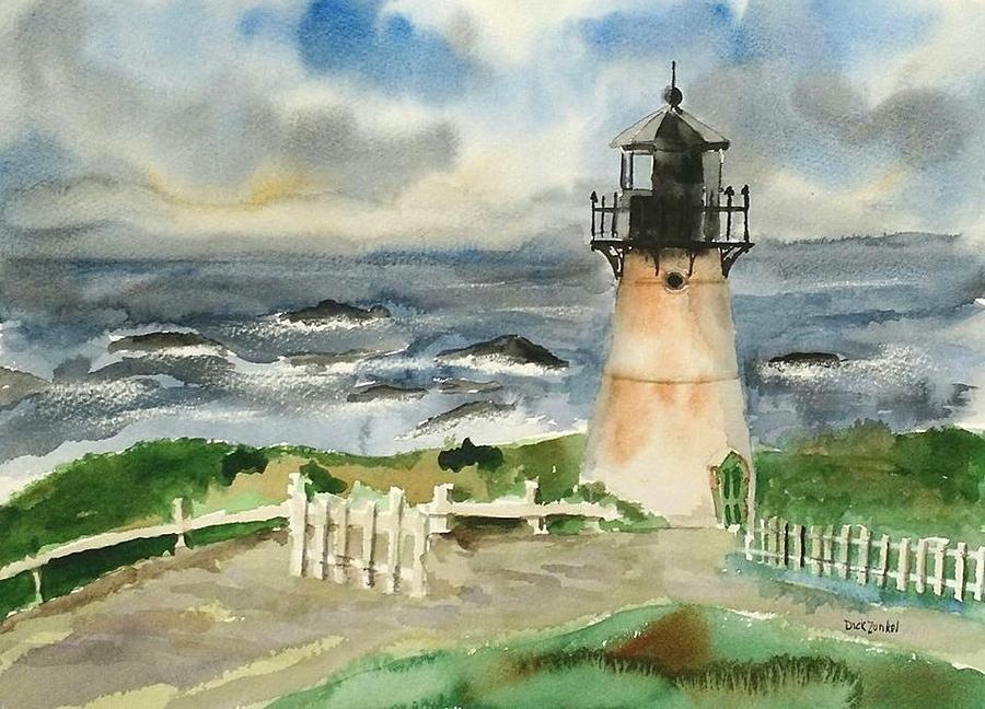 Montara Painting - Montara Lighthouse, Plein Air by Richard Zunkel