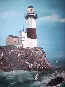 Montauk Light House  Painting by Richard Finnell