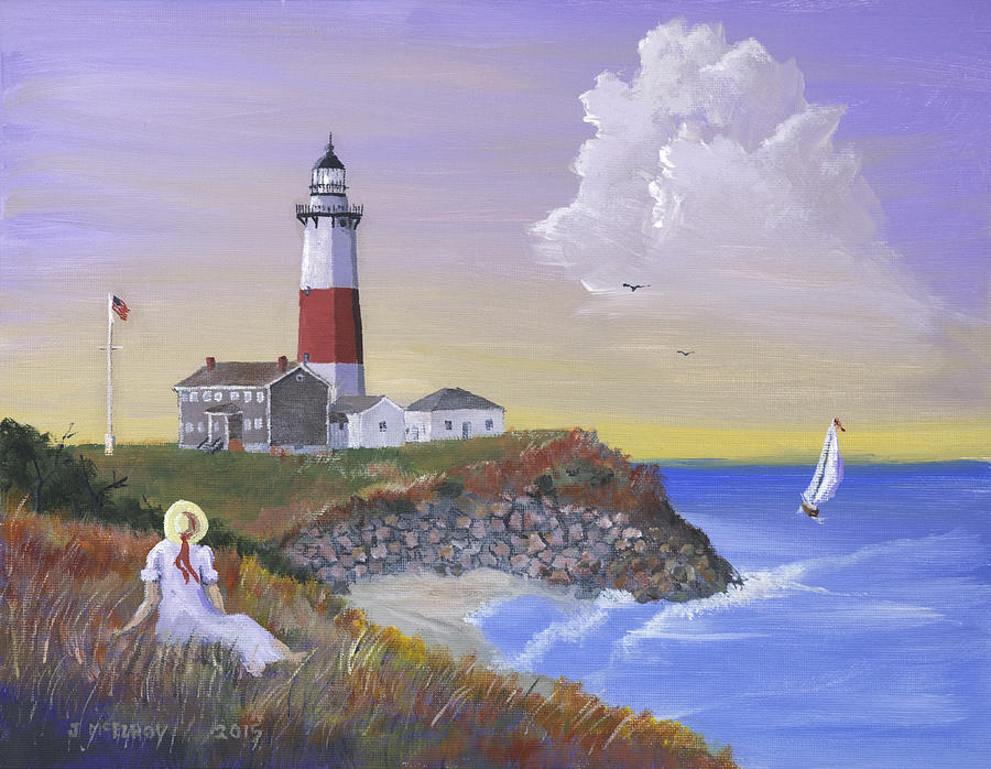 Lighthouse Painting - Montauk Lighthouse by Jerry McElroy