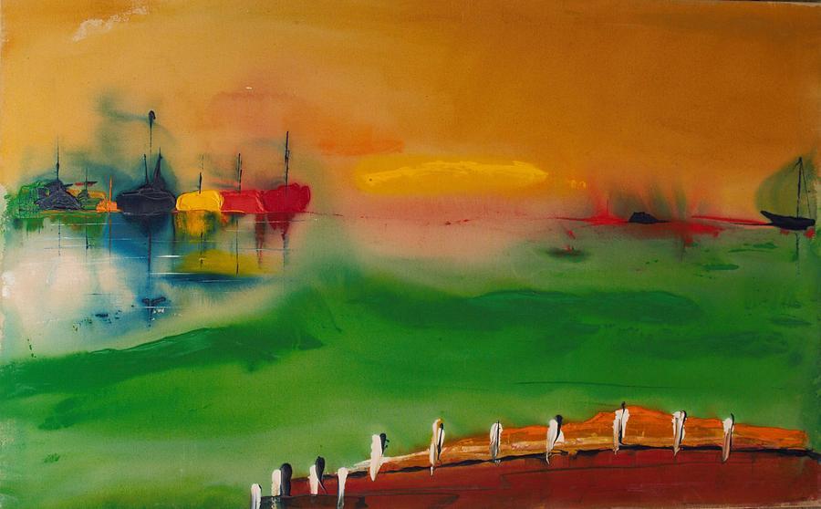Hampton Bays Painting - Montauk Marina by Edward Longo