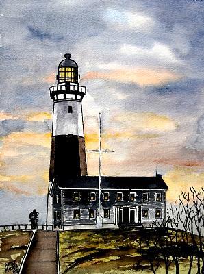Montauk Point Painting - Montauk Point Lighthouse by Derek Mccrea