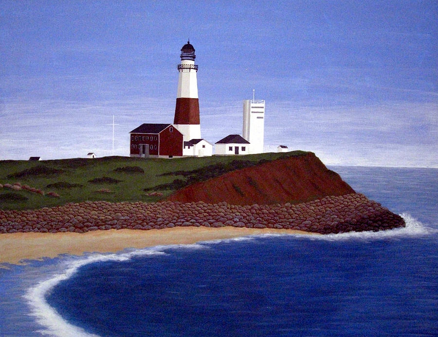 Lighthouse Paintings Painting - Montauk Point Lighthouse by Frederic Kohli