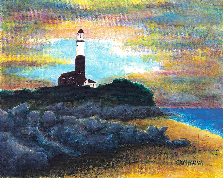 Acrylic Painting - Montauk Point by Teddy Campagna