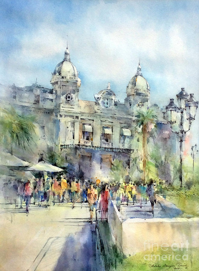 Monte Carlo Casino Painting - Monte Carlo Casino - Monaco by Natalia Eremeyeva Duarte