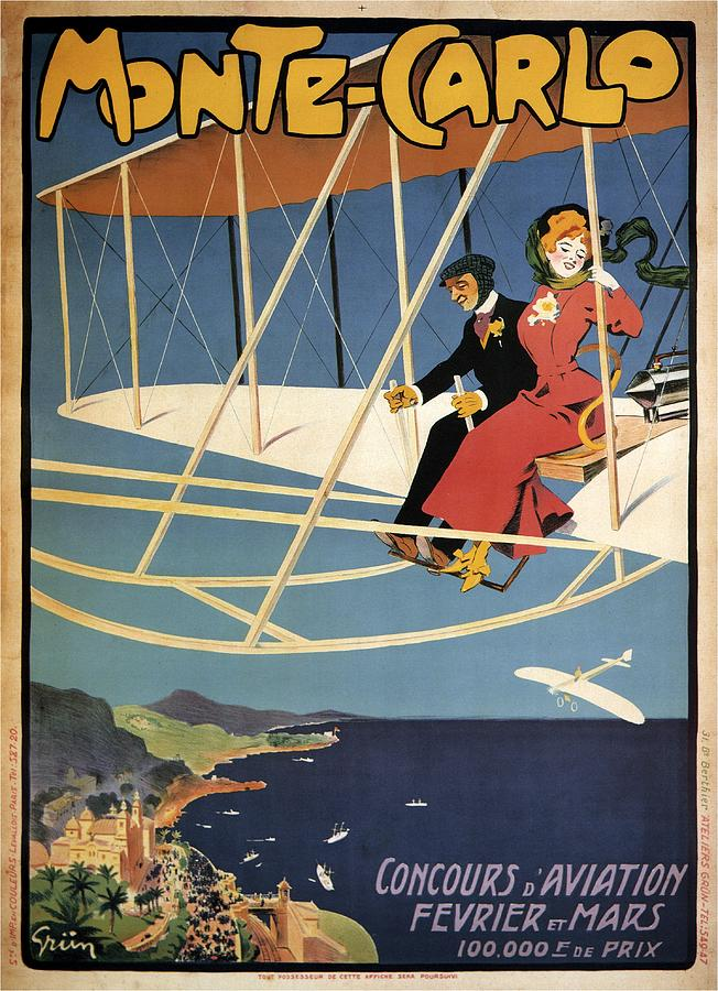 Monte Carlo - Concours D'aviation - Biplane - Retro Travel Poster - Vintage  Poster