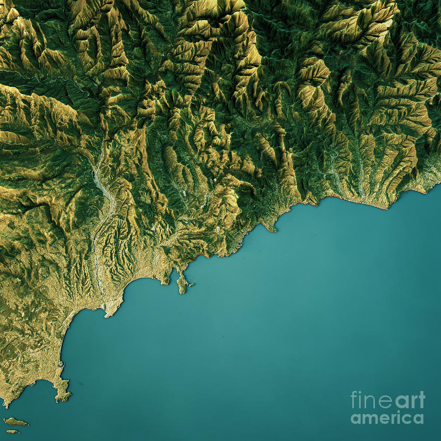 Monte Carlo Topographic Map Natural Color Top View Digital Art by