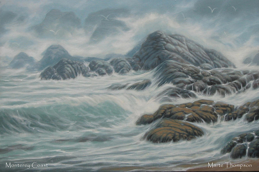 Rocky Coast Painting - Monterey Coast by Marte Thompson