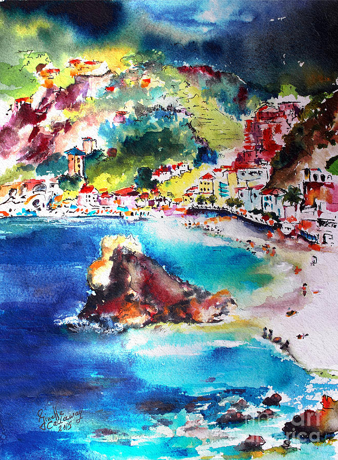 Monterosso  Cinque Terre Italy  Painting by Ginette Callaway