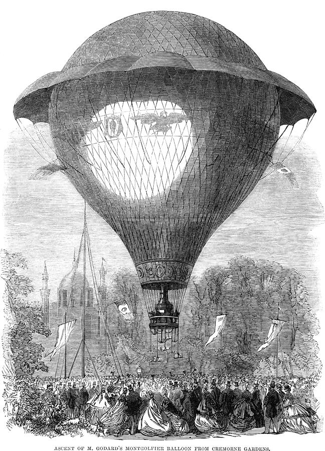 1864 Photograph - Montgolfier Balloon, 1864 by Granger