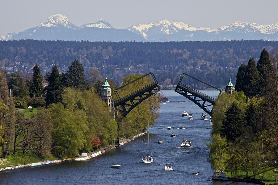 Horizontal Photograph - Montlake Bridge And Cascade Mountains by C. Chase Taylor