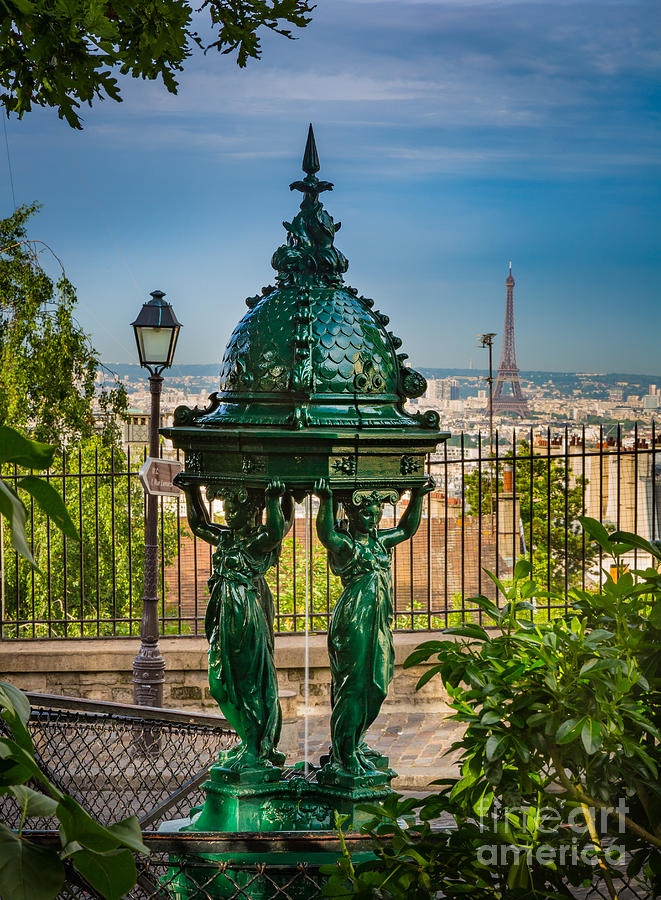 Eiffel Photograph - Montmartre Wallace Fountain by Inge Johnsson