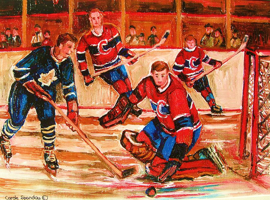 Hockey Painting - Montreal Forum Hockey Game by Carole Spandau