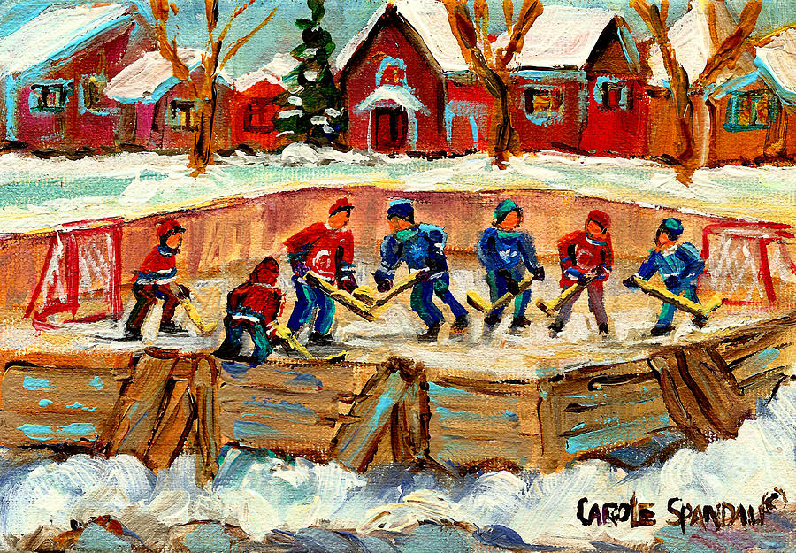 Montreal Painting - Montreal Hockey Rinks Urban Scene by Carole Spandau
