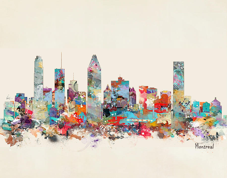montreal quebec skyline painting by bleu bri