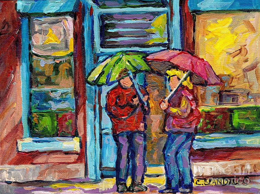 Montreal Painting - Montreal Rainy Day Paintings April Showers Umbrella Conversation At Wilenskys Deli C Spandau Quebec by Carole Spandau