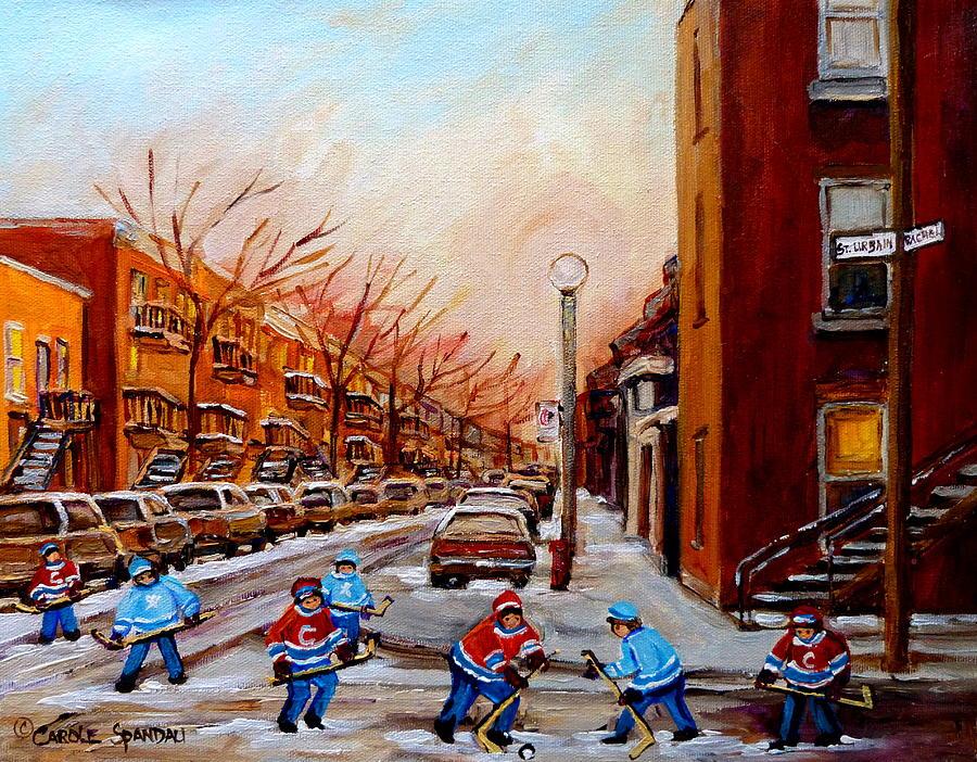 Montreal Streetscene Painting - Montreal Street Hockey Game by Carole Spandau