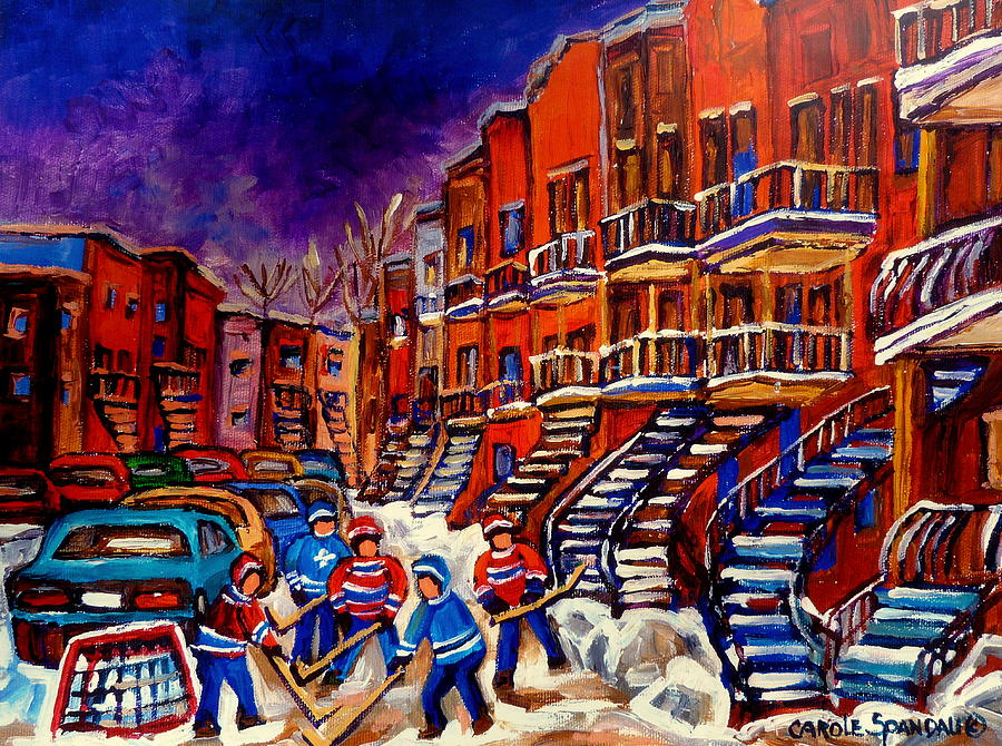 Montreal Painting - Montreal Street Scene Paintings Hockey On De Bullion Street   by Carole Spandau