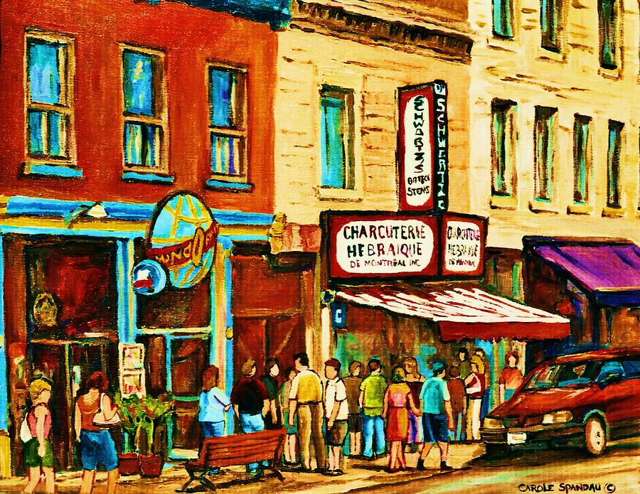 Montreal Painting - Montreal Streetscene Artist Carole Spandau Paints Schwartzs Main Street Hustle Bustle by Carole Spandau