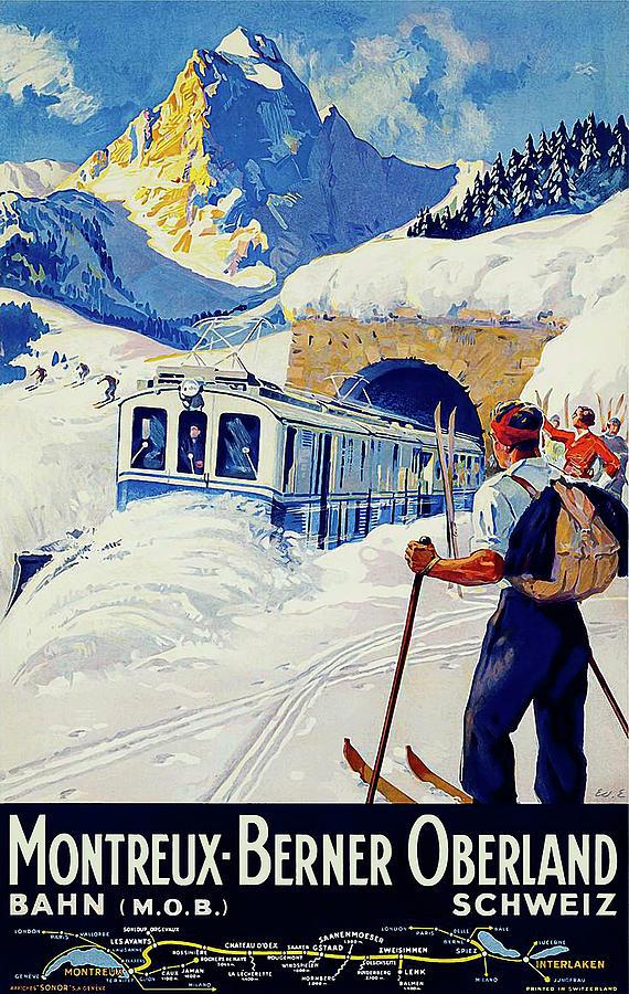 Montreux Painting - Montreux, Berner Oberland Railway, Switzerland, Winter, Ski, Sport by Long Shot