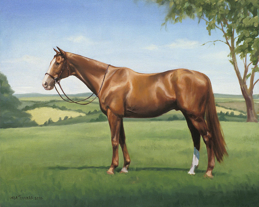Horse Painting - Monty by Linda Tenukas
