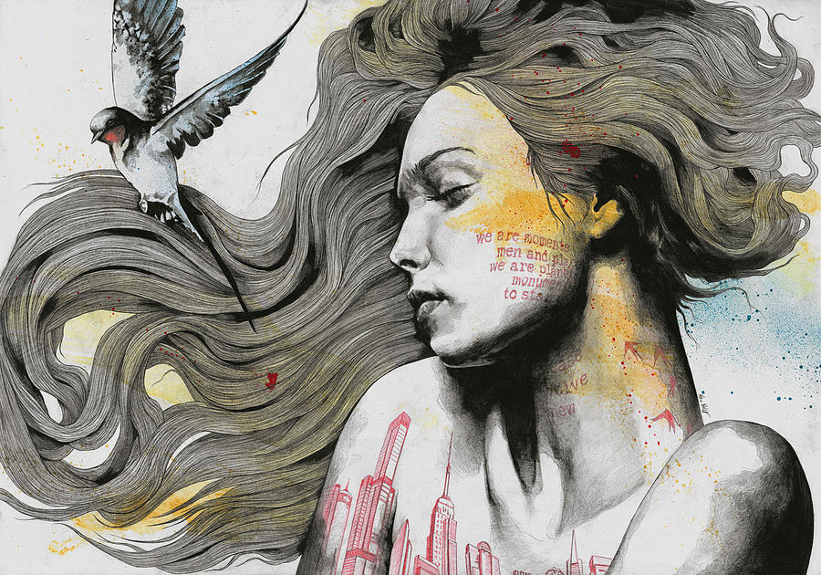 Skyline Drawing - Monument - Long Hair Girl With Bird And Skyline Tattoo by Marco Paludet