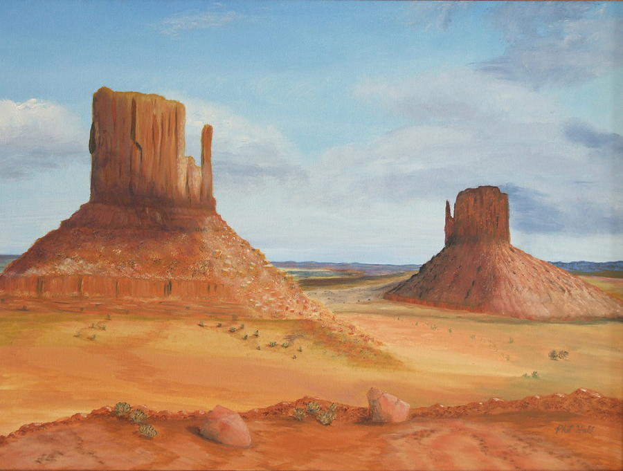 Monument Valley Painting - Monument Valley    The Mittens by Philip Hall