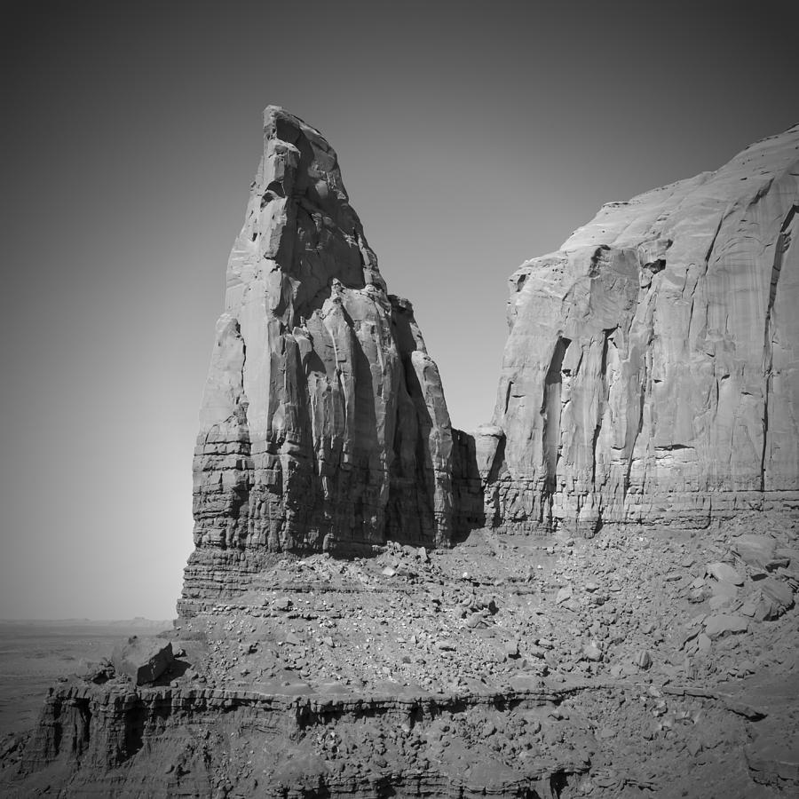 Monument Valley Photograph - Monument Valley Spearhead Mesa Black And White by Melanie Viola
