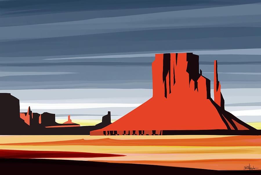 Mesa Arizona Painting - Monument Valley Sunset Digital Realism by Sassan Filsoof