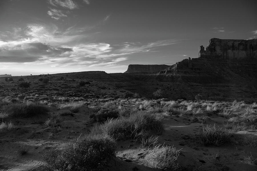 Monument Valley Photograph - Monument Valley View - Black And White by Steve Ohlsen