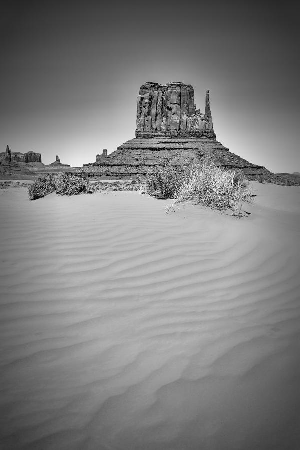 Monument Valley Photograph - Monument Valley West Mitten Butte Black And White by Melanie Viola