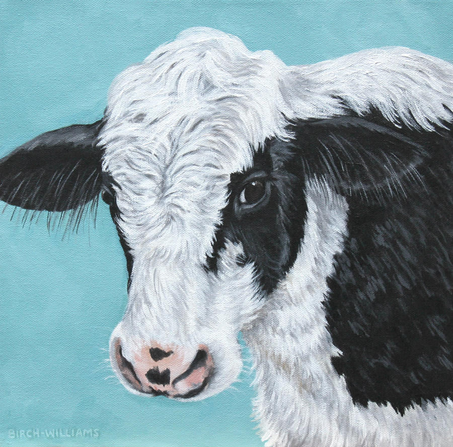 Cow Painting - Moo by Penny Birch-Williams