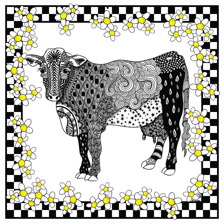 Cow Digital Art - Moo-sue by Lisa Schwaberow